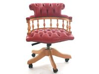 Lovely Red Leather Captain Chair