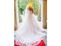 Designer Ronald Joyce Arlene A-line wedding dress with sparkle tulle skirt, size 14, Ivory
