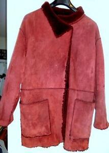 100% SHEARLING WOMENS L 14 16 Sheepskin COAT JACKET Trendy Burgundy Dark Red WARM THICK Ladys OAKVILLE ph 905 510-8720