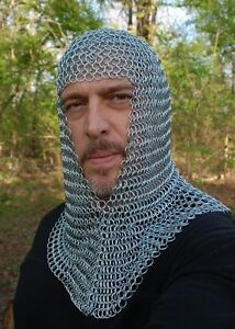 New-Knights-Steel-Chainmail-Chain-Mail-Coif-Armor-Hood-for-Hauberk-10mm-Butted