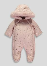 Cosy pink pramsuit for 9-16 month girl