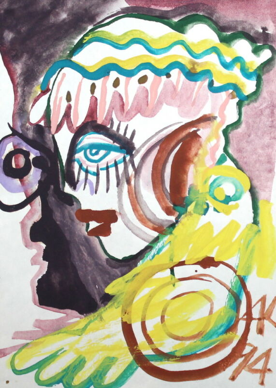 EXPRESSIONIST WOMAN PORTRAIT WATERCOLOR PAINTING SIGNED