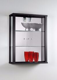 EX DISPLAY WALLMOUNTED DOUBLE GLASS CABINETS IN BLACK