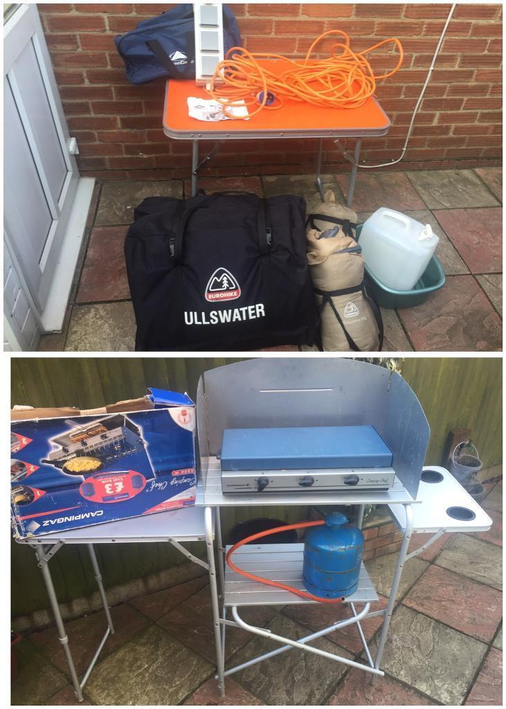 camping job lot tent cooker stands electrics table etc in kings