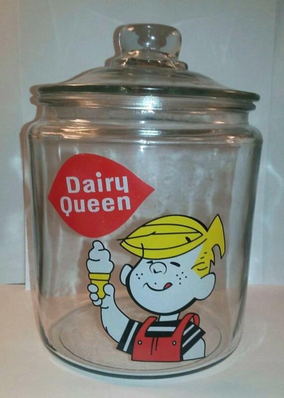 Rare Dairy Queen Dennis The Menace Glass Counter Jar