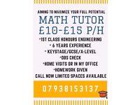 Experienced Math Tutor £10-£15 per hour