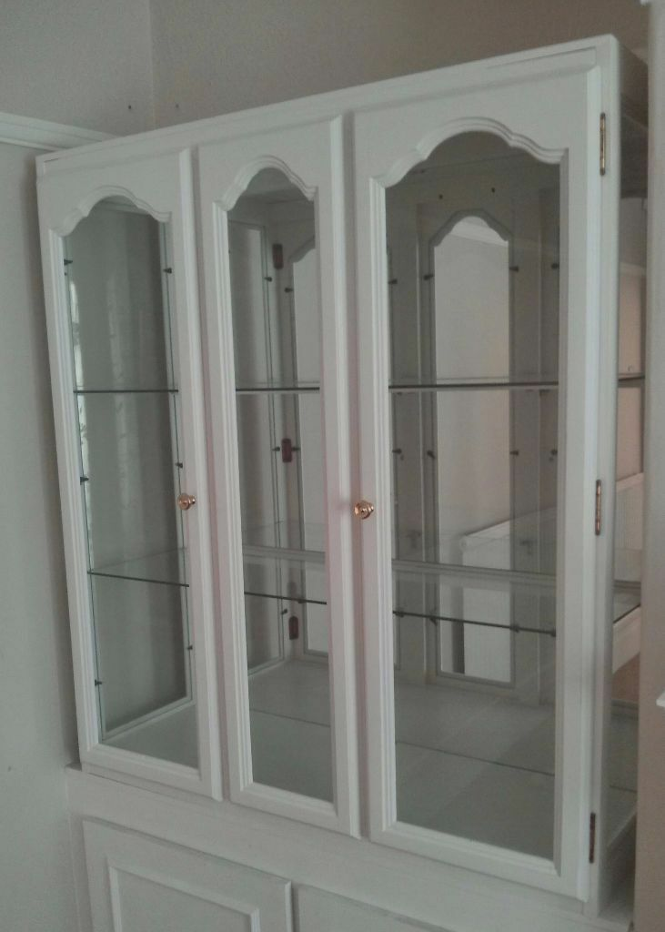 White Display Cabinet Glass Doors And Mirror Back In Sheffield