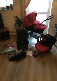 Silver cross wayfarer complete travel system chilli red