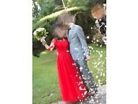 Stunning red wedding dress for sale (good quality and very photogenic) size 6-8