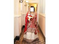 Asian red and white bridal Lengha