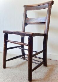 4 wooden church chairs, vintage, stained wood, bought from After Noah in Upper Street