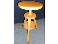 Wooden Stool - Lamp Table - Adjustable Height Screw - Solid Beech