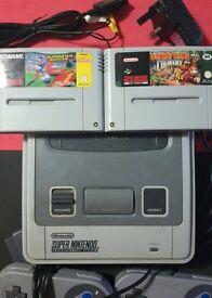 Super Nintendo Snes Bundle Donkey kong console