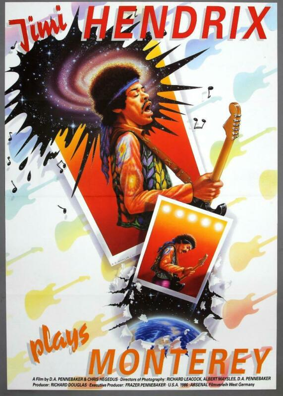 "JIMI HENDRIX ""Jimi Plays Monterey"" -  rare original 1986 German movie poster"