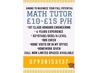 Experienced Private Math Tutor £10-15 per hour