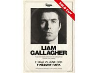 2 Tickets to Liam Gallagher at Finsbury Park