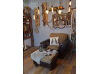 Vintage Leather & Fabric Armchair + Footstool