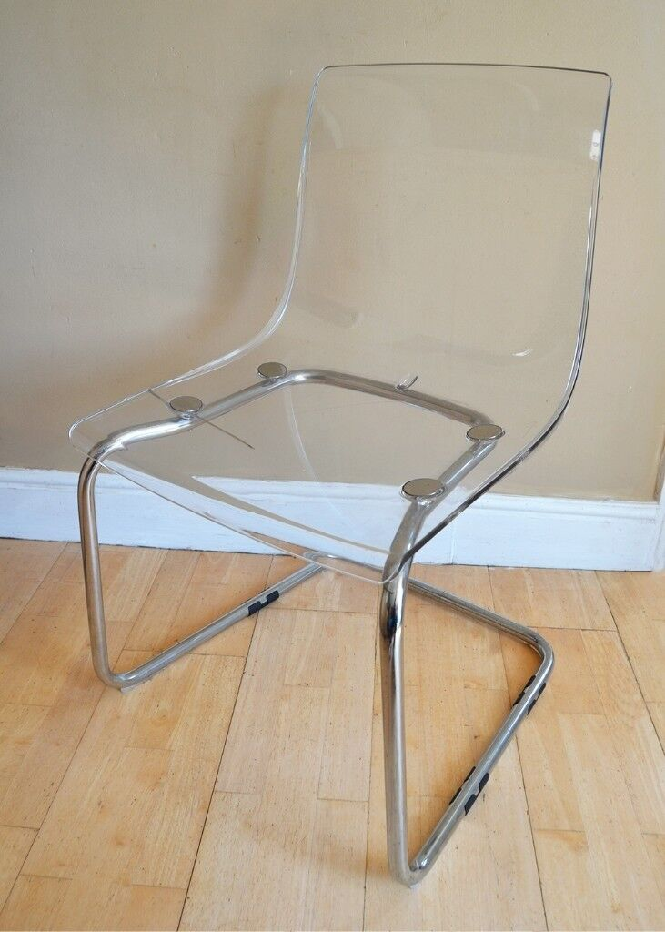 See Through Furniture For Clear Acrylic Chair Ghost See Through Chrome Needs Restoration