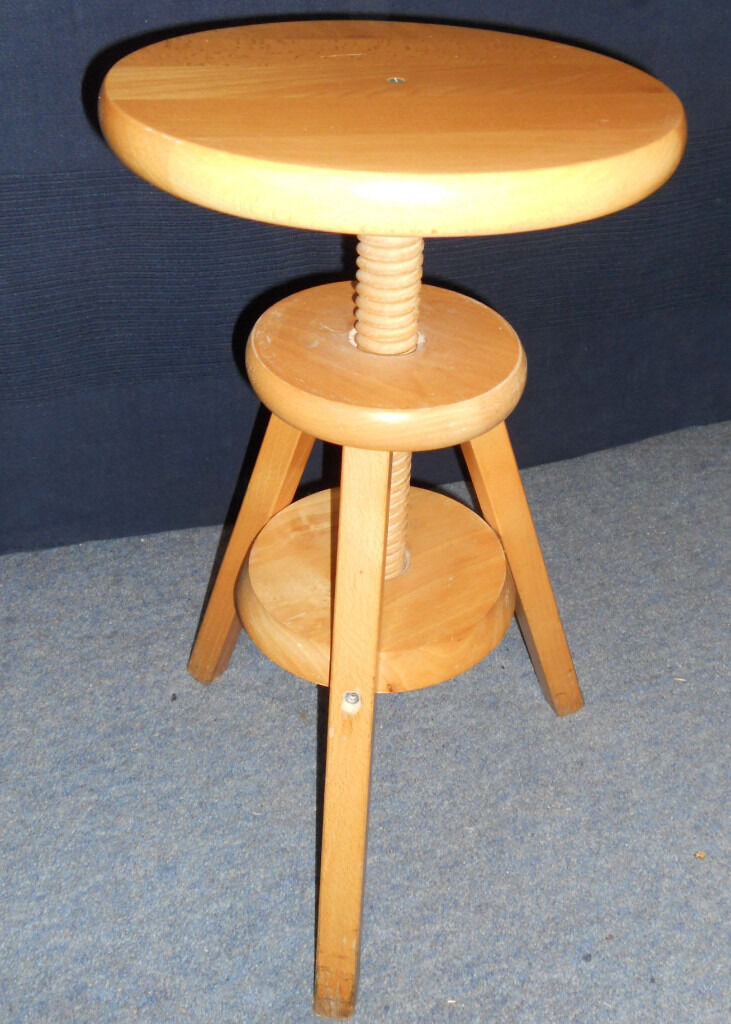 Wooden Stool - Adjustable Height Screw - L& Table - Solid Beech & Wooden Stool - Adjustable Height Screw - Lamp Table - Solid Beech ... islam-shia.org