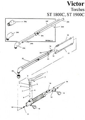 Victor St1900 St1800 1800 1900 Torch Cutting Valve Rebuild Repair Kit 0390-0043