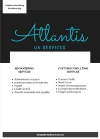 Bookkeeping services and Customs Consulting services