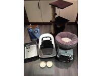 Cat Accessories - litter tray, carry case, climbing cat post, cat bowls, hygiene litter, cat bed