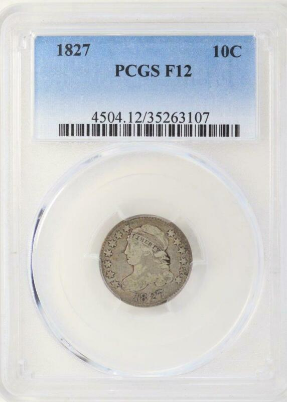 1827 Capped Bust Dime PCGS F 12 - Nice Coin - *DoubleJCoins* 3000-50