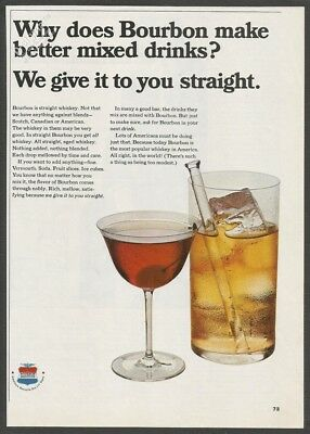 THE BOURBON INSTITUTE-Straight Whiskey better mixed drinks 1967 Vintage Print