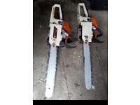 "2x petrol chaishaw 1 light use other need new chain 20"" blade, both £50"