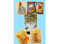 Baby bundle of toys including musical cot mobile