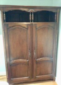 ***Antique Solid Oak - Beautiful French Armoire with Top Gallery Shelf***