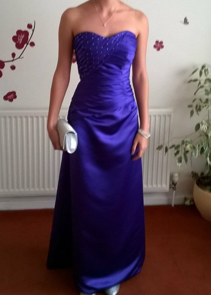 purple prom /bridesmaid dress size 10in Stourport on Severn, WorcestershireGumtree - Purple satin prom or bridesmaids dress size 10 has with lace up back detail so can be adjusted to fit shape, Swarovski crystals on the top half very simple but beautiful dress worn once in excellent condition from a smoke free house