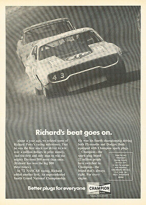 1973 Richard Petty Plymouth 1972 Nascar Car Advertisement Print Ad J296