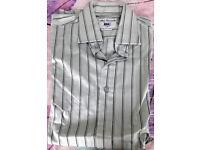TM Lewin Mens grey striped slim fit long sleeve shirt size 16.5 inch