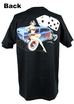 Zombie Hot Rod Custom Sedan Girl Pin Up V8 Würfel US Car T- Shirt NEU