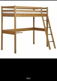 Brazilian solid wood bunk bed with study table.