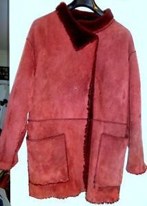 "WOMENS Size 16 L XL 44""b REAL SHEEPSKIN SHEARLING COAT JACKET ~ BURGUNDY ~ VERY GENTLY USED L XL MINT"