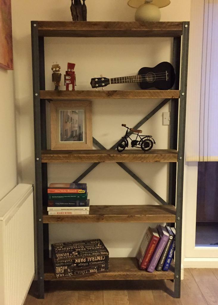 Hand Made Industrial Style Shelf Unit Project- Bookcase- Different Sizes  Upon Request