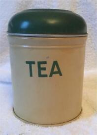 1940's/1950's metal enamelled tea caddy