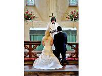 Beautiful Benjamin Roberts ivory satin wedding dress.