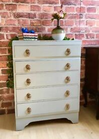 Vintage Shabby Chic Chest of Drawers in Grey