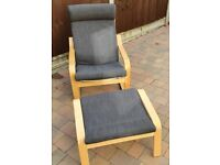 IKEA Armchair and Stool for sale