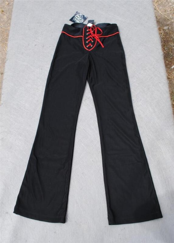 Funky Diva Dance Pants Stretch Black & Red Size 10-12 Girls NWT