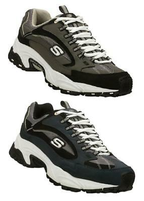 SKECHERS Men's Leather Sneakers, Navy & Gray, Medium & Extra Wide 3E Men Gray Leather