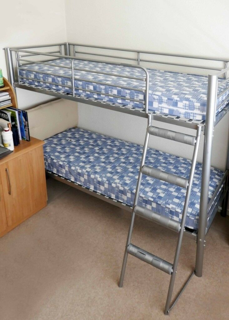 Solid Metal Bunk Beds Complete With Steps And Mattresses Very