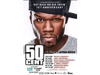 x2 50 Cent 15th Anniversary Tickets London O2 !!!!STANDING!!!!