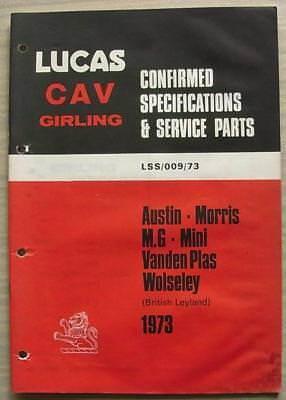 LUCAS BRITISH LEYLAND Equipment Spare Parts 1973 #LSS/009/73 Austin MINI MG VDP