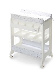 Baby changing table with bath and storage.