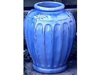 Large Blue Glazed Planter