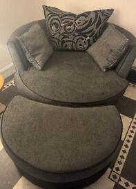 Cuddle chair grey fabric DFS